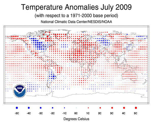 NOAA world temperatures July 2009