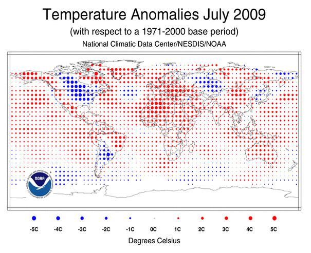 NOAA world temperatures July 2009